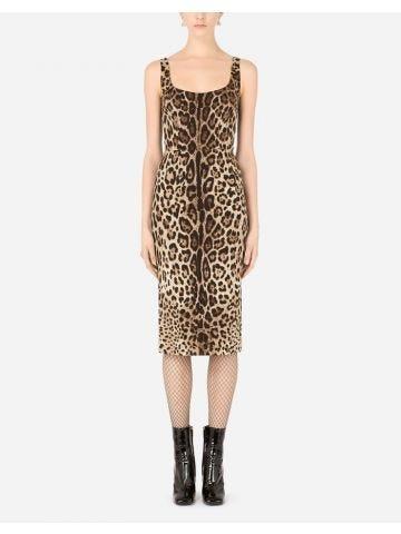 Abito longuette in charmeuse stampa leopardo