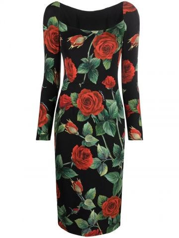 Multicolor silk scoop-neck rose-print dress