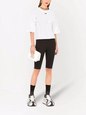 White jersey T-shirt with bustier details and DG embellishment