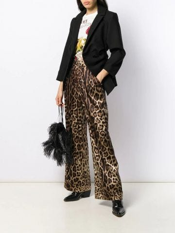 Leopard-print satin pajama pants