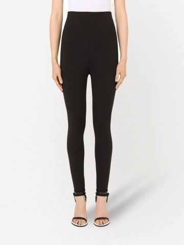 Black high-waisted stirrup leggings