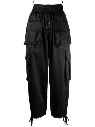 Black high-waisted cargo trousers