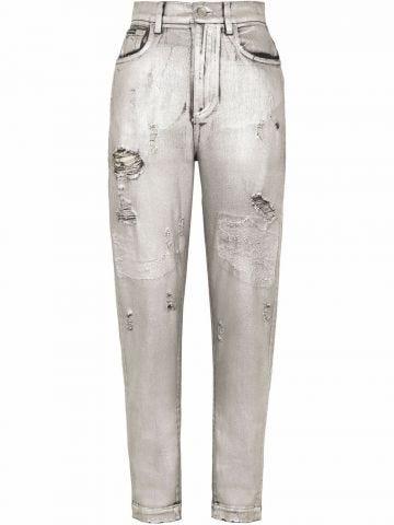 Ripped-detail denim jeans