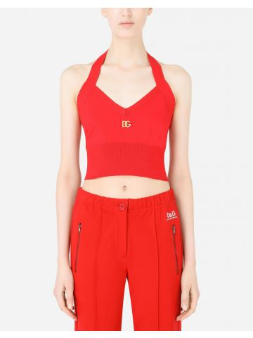 Red viscose top with DG embellishment