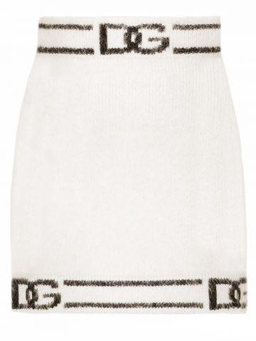 White knit miniskirt with DG intarsia
