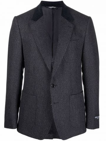 Grey single breasted jacket with contrasting lapels