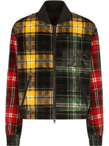 Patchwork design bomber jacket