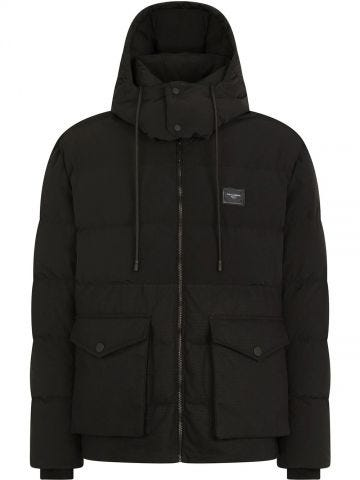 Black long down jacket with hood