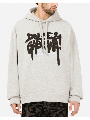 Grey jersey hoodie with print