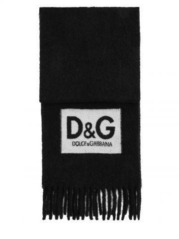 Black logo patch fringed scarf