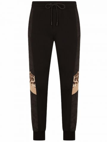 Mixed fabric jogging trousers