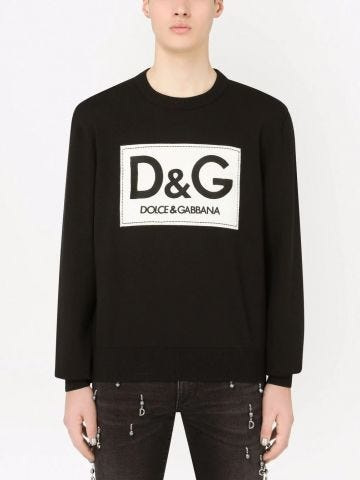 Black wool round-neck sweater with D&G embroidery