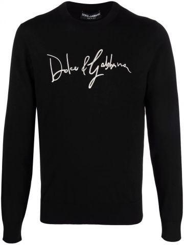 Maglia girocollo lana nera ricamo Dolce&Gabbana