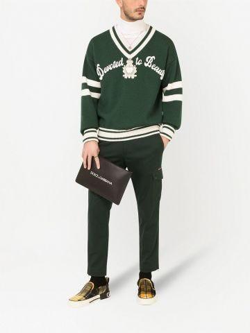 Maglione con ricamo verde