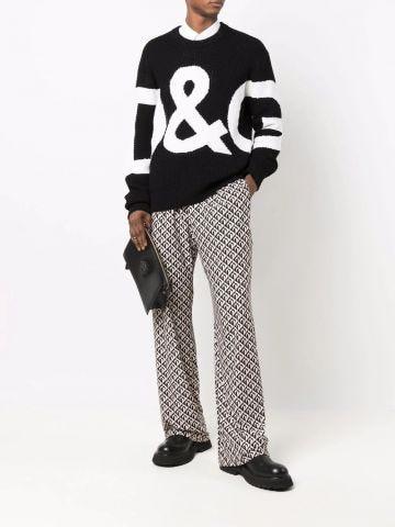 Black intarsia logo wool sweater