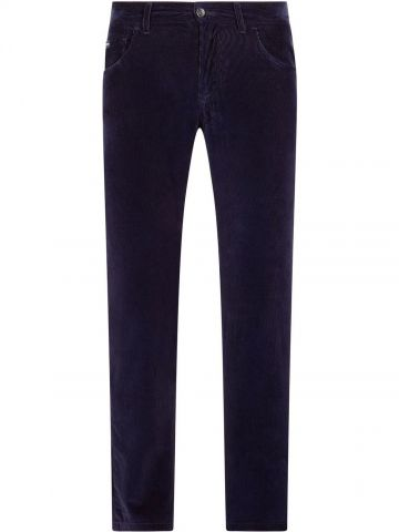 Straight blue ribbed trousers