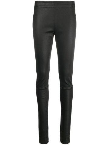 Black lamb skin slim leather trousers