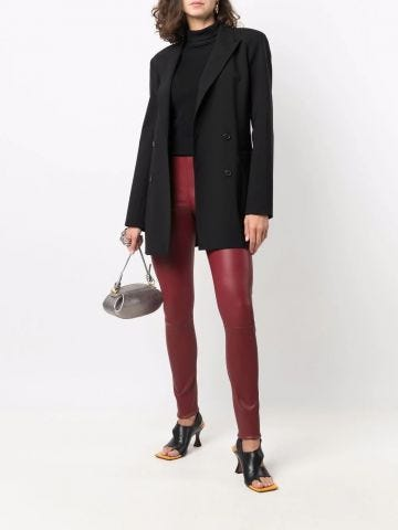 Red skinny leather trousers