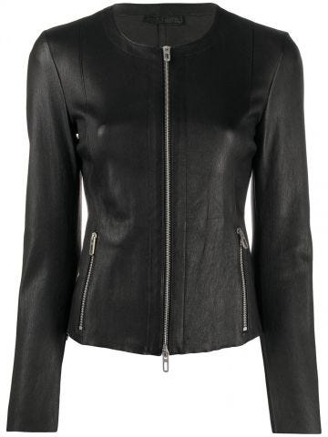Black fitted zipped leather jacket