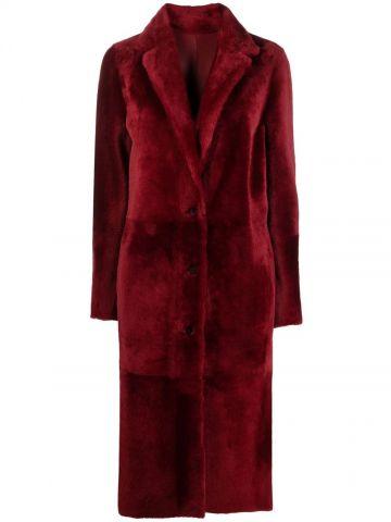 Cappotto monopetto di pelliccia rosso