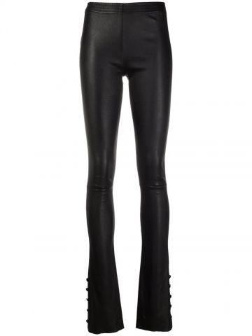 Black flared leather trousers