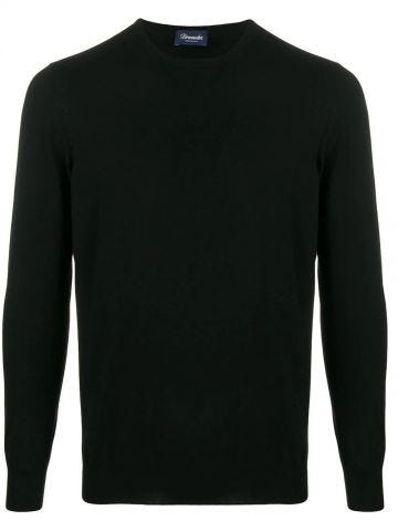 Black Cashmere crew-neck jumper