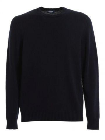 Navy blue Merino wool crewneck sweater