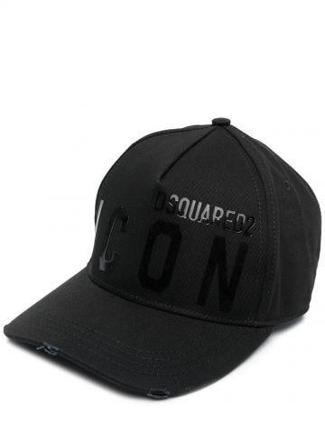 Black Icon logo-print cap