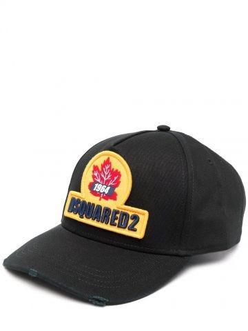 Black logo-patch baseball cap