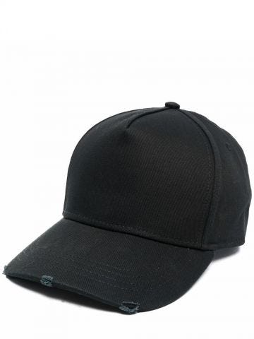 Black baseball cap with logo embroidery