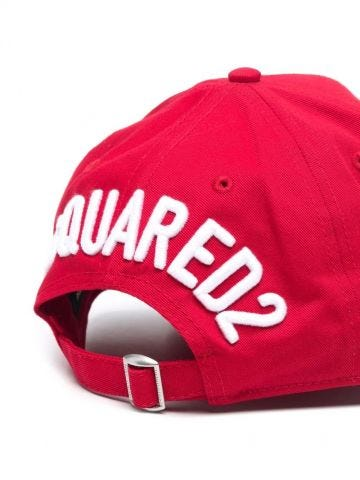 Red baseball cap with logo embroidery