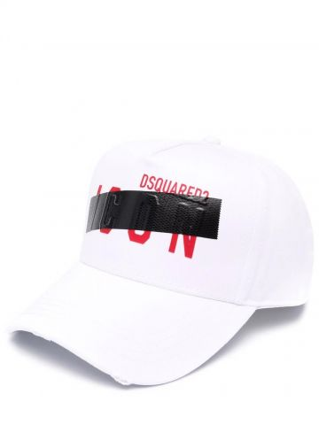 White red cotton Icon embroidered-logo six-panel cap