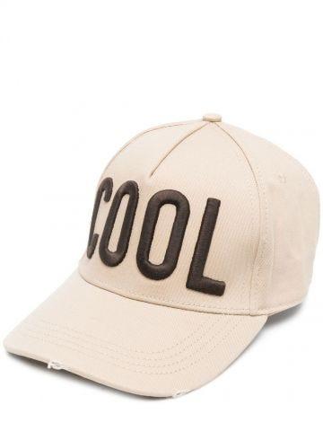 Cappello da baseball beige con ricamo