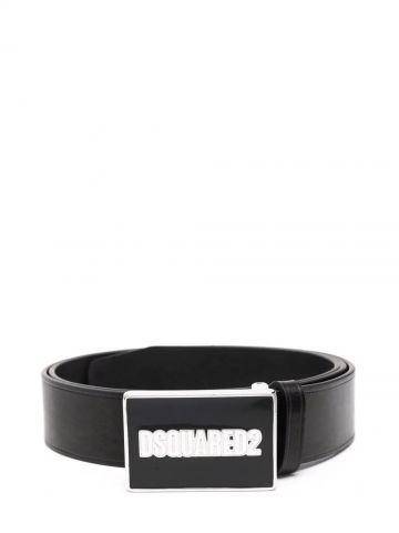 Black logo-buckle belt