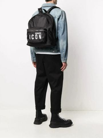 Icon printed black backpack