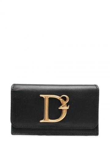 Black D2 logo-plaque wallet