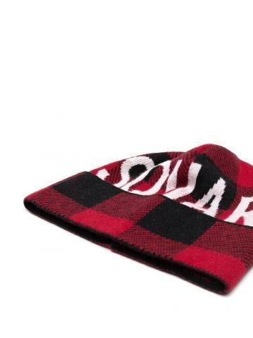 Red logo-intarsia beanie
