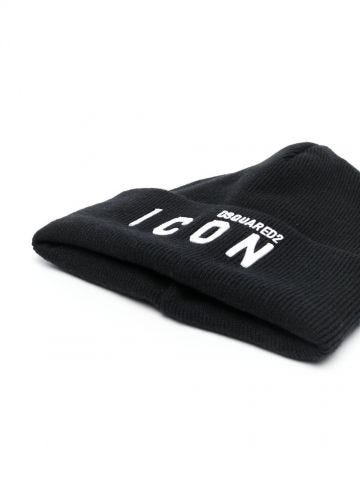 Black Icon logo-embroidered knitted beanie