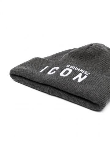 Grey Icon logo-embroidered knitted beanie