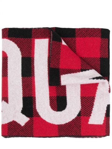 Red check intarsia-knit scarf