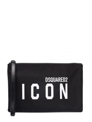 Pochette nera con stampa Icon