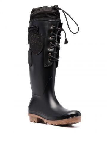 Black wellington boots