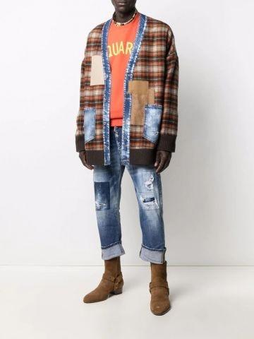 Patchwork wool cardigan
