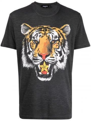 Gray tiger print T-shirt