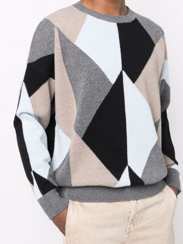 Crew-neck jumper with multicoloured geometric yarn