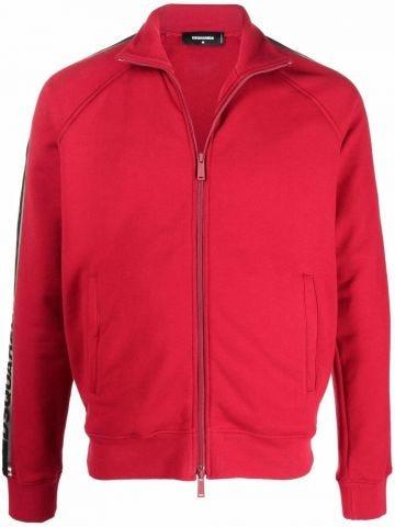Red zip-up sweatshirt