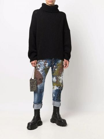 Blue army-wash Cool Guy cropped jeans