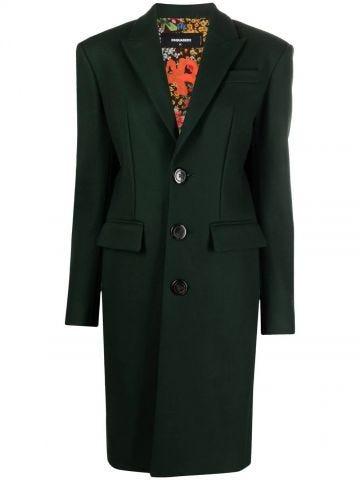 Cappotto monopetto verde