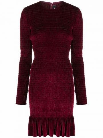 Red velvet ruffle-hem bodycon mini dress