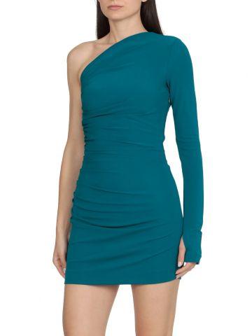 Blue viscose one-shoulder dress